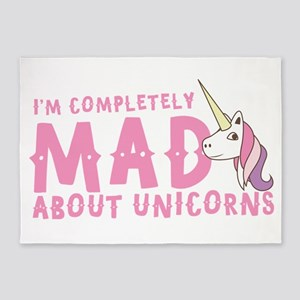I'm completely MAD about unicorns 5'x7'Area Rug