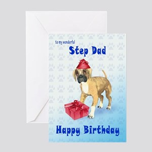 Birthday card for a step dad with a boxer puppy Gr
