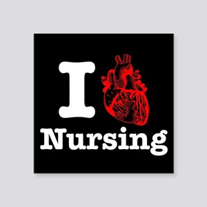 "I Heart Nursing Square Sticker 3"" x 3"""