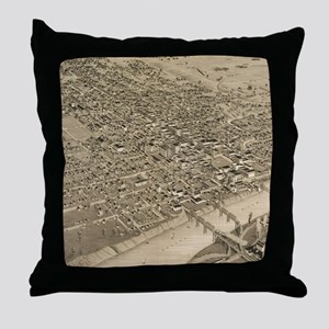 Vintage Pictorial Map of Waco Texas ( Throw Pillow