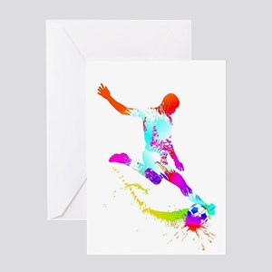 Neon Football 4 Greeting Cards