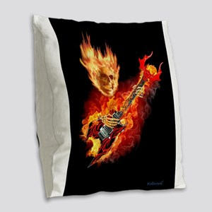 Playing With HellFire Burlap Throw Pillow