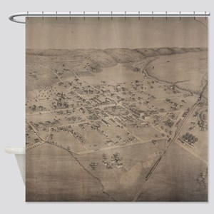 Vintage Pictorial Map of San Marcos Shower Curtain