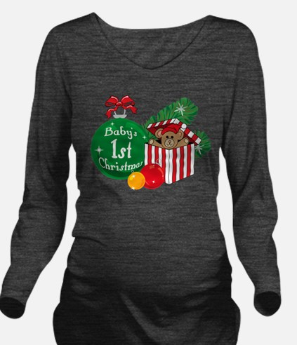 Baby's 1st Christmas Long Sleeve Maternity T-Shirt