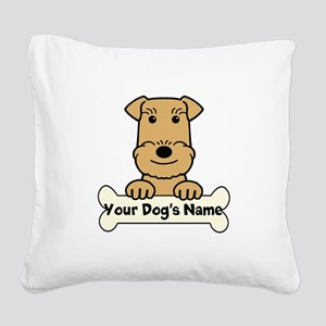 Personalized Airedale Square Canvas Pillow