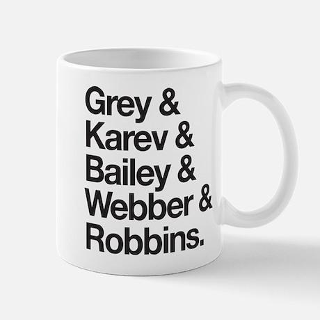 Grey's Character Names Mug