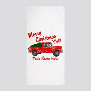 Merry Christmas Yall Beach Towel