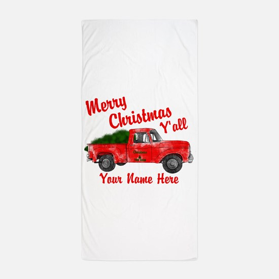 Merry Christmas Yall Beach Towel