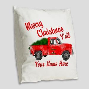 Merry Christmas Yall Burlap Throw Pillow
