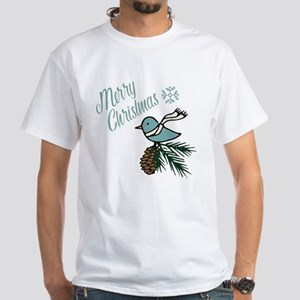 Blue Bird Evergreen and Pinecone Christmas T-Shirt