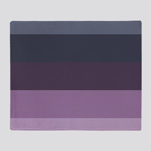 grey lavender purple stripes Throw Blanket