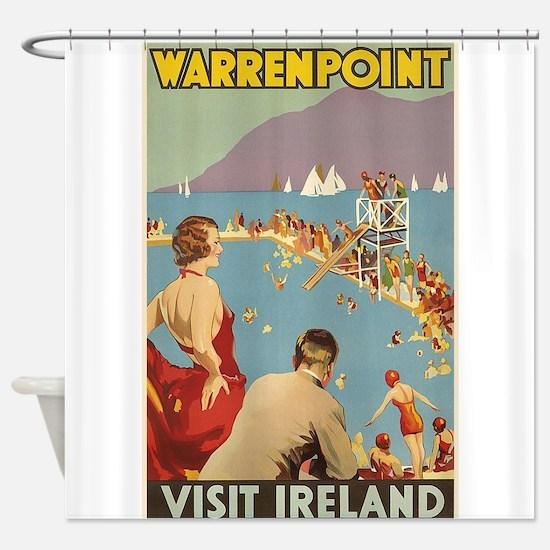 Warrenpoint, Ireland; Vintage Trave Shower Curtain