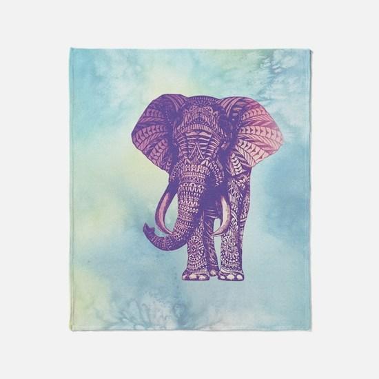 Funny Asian elephant Throw Blanket