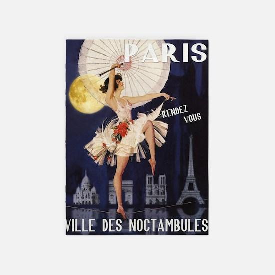 Paris Vintage Poster 5'x7'area Rug