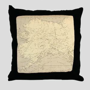 Alaska vintage map Throw Pillow