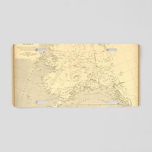 Alaska vintage map Aluminum License Plate