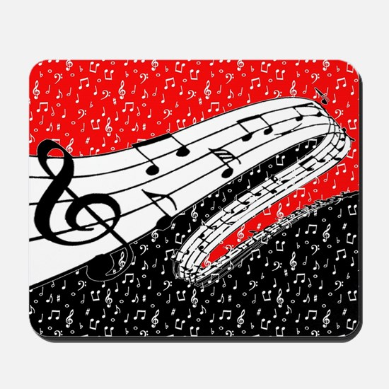 Red and black music theme Mousepad