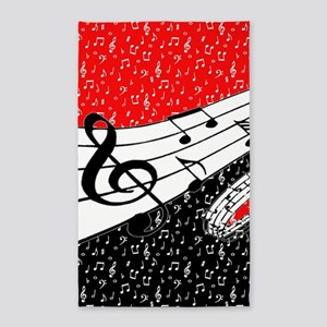 Red and black music theme Area Rug