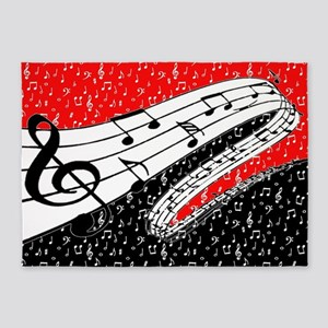 Red and black music theme 5'x7'Area Rug
