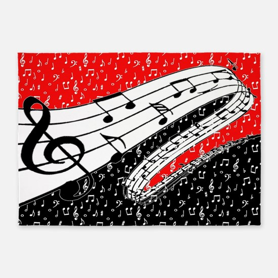 Red And Black Music Theme 5 X7 Area Rug