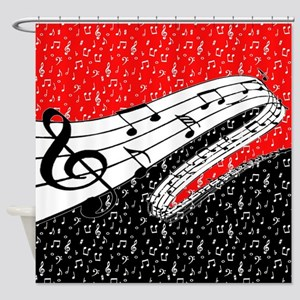 Red and black music theme Shower Curtain
