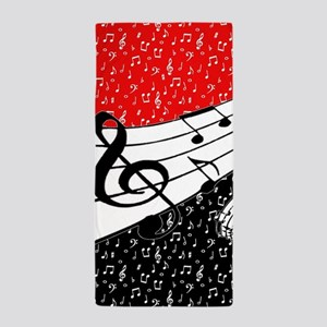 Red and black music theme Beach Towel