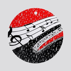 Red and black music theme Round Ornament