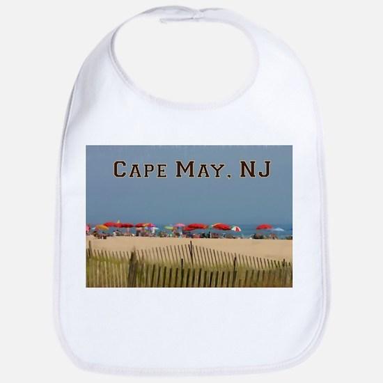 Cape May, NJ Beach Scene Baby Bib