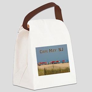 Cape May, NJ Beach Scene Canvas Lunch Bag