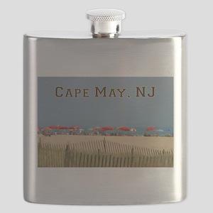 Cape May, NJ Beach Scene Flask