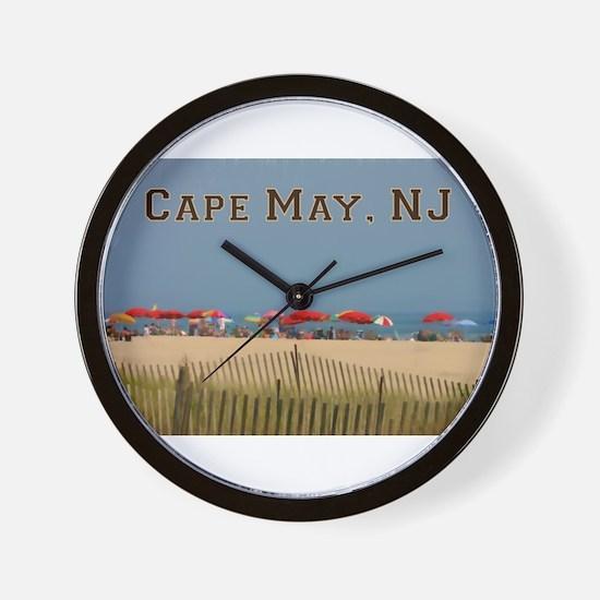 Cape May, NJ Beach Scene Wall Clock