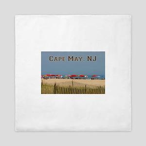 Cape May, NJ Beach Scene Queen Duvet