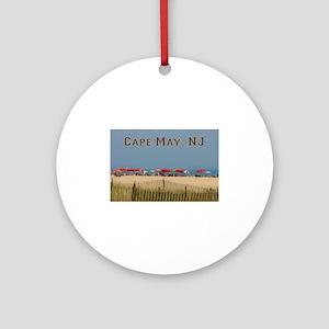 Cape May, NJ Beach Scene Round Ornament