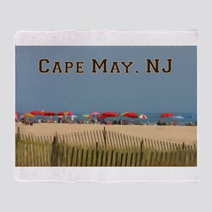 Cape May, NJ Beach Scene Throw Blanket
