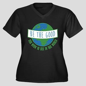 Be the Good Women's Plus Size V-Neck Dark T-Shirt