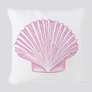Scallop Seashell in shades of Pink Woven Throw Pil