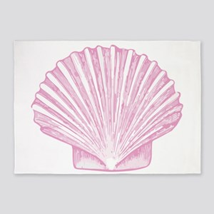 Scallop Seashell in shades of Pink 5'x7'Area Rug