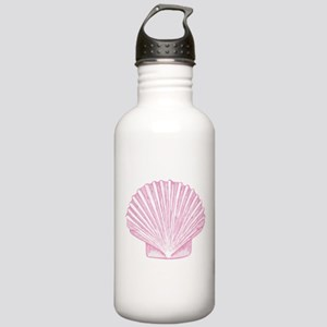 Scallop Seashell in shades of Pink Water Bottle