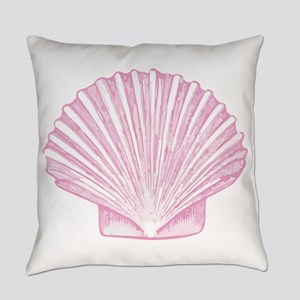 Scallop Seashell in shades of Pink Everyday Pillow