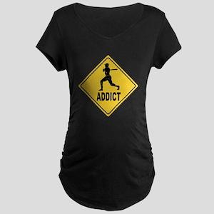 Baseball Addict 2 Maternity Dark T-Shirt