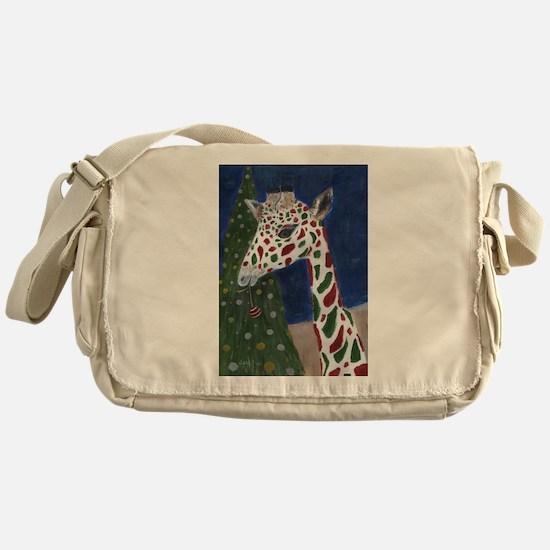 Christmas Giraffe Messenger Bag