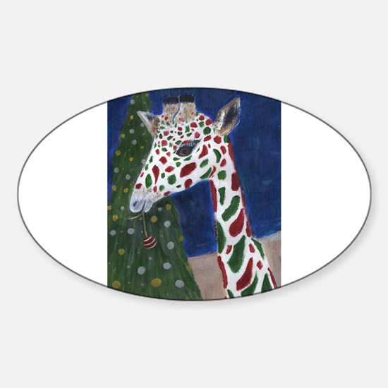 Christmas Giraffe Decal