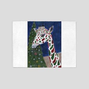Christmas Giraffe 5'x7'Area Rug
