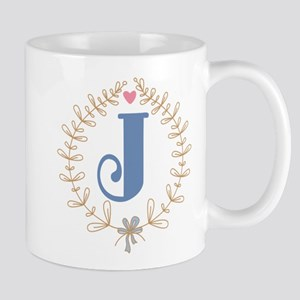 J Monogram Wreath Mug
