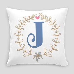 J Monogram Wreath Everyday Pillow