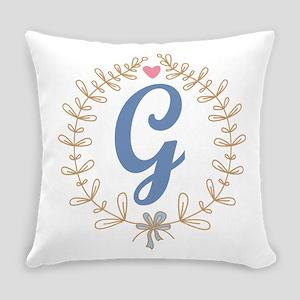 G Monogram Wreath Everyday Pillow