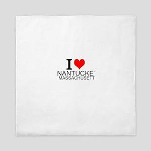 I Love Nantucket, Massachusetts Queen Duvet