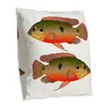 African Jewelfish Burlap Throw Pillow