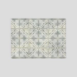 French Vintage Damask Pattern Tile 5'x7'Area Rug