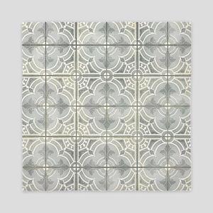 French Vintage Damask Pattern Tile Gre Queen Duvet